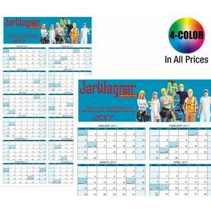 WALL CALENDAR: Jumbo Size Year-at-a-Glance, Dry Eraser Friendly w/ 4-Color Custom Graphics Included